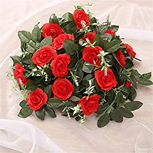 Artificial Rose Flower Fake Hanging Decorative Roses Vine Plants Leaves Garl Flowers Wedding Wall Decoration 48