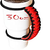 Handmade Paracord Handle For Yeti, Ozark, Rtic, BOSS, Kodiak, Mossy Oak, SIC Trail Rambler and other 30 Oz Tumblers - Ultra-Strong 550 lbs Type 3 Paracord Handie, Black/Red style - Great Gift Idea!