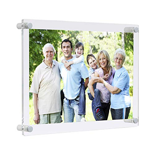 Wall Mount Floating Lucite Picture Frames 8x10 Office Family,Clear Acrylic Decorative 8 x 10 Frameless Wall Frame uv Protected for Photo Art Memories Anniversary Wedding (Full frame size - Art Navy Frame Glass