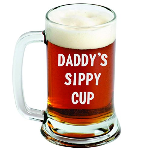 Engraved Beer Mug – Daddy's Sippy Cup - 16oz - Clear Glass - Funny Gifts for Men and Women by Sandblast Creations