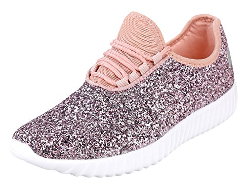 Link Lace up Rock Glitter Fashion Sneaker for Children/Girl/Kids Pink