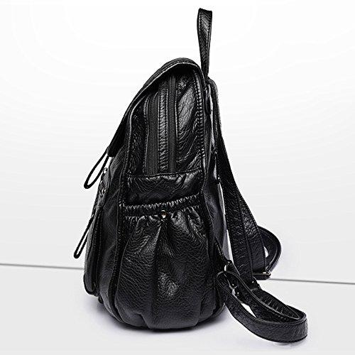 Hgdr Sac À Dos Pour Les Femmes En Cuir Noir Doux Pu + Multifonction Sac À Bandoulière Tout Un, noir-28 * 14 * 33cm Noir