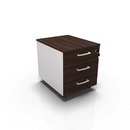 Cajonera de oficina con ruedas, mesita de noche con cajones, armario de oficina, montaje fácil, 42 x 56 x 51 cm, color blanco o gris, color Bianco con ...