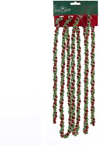 Kurt Adler 9 Decorative Red Green and Gold Twisted Bead Christmas Garland Unlit