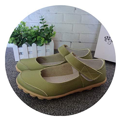 (Plus Size Genuine Leather Shoes Flat Shallow Ankle Strap Women Shoes Ballet Flats Women Four Seasons Ballerina Flat,Apple Green,8)