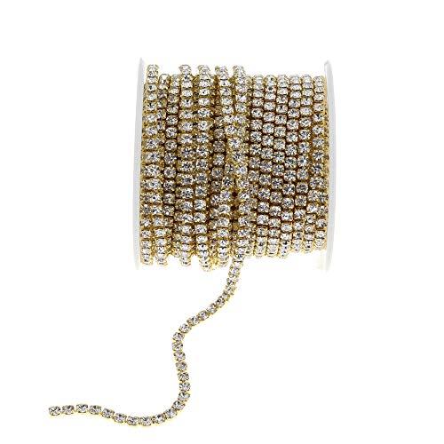 (L-Queen 10 Yards Golden Rhinestone Trim Crystal Close Chain DIY Design Jewelry Crafts DIY Wedding Decorations (Rhinestone)
