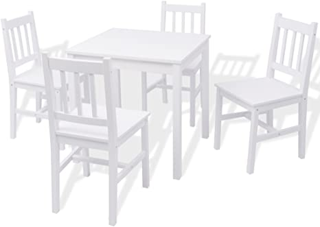 Safe Night Pine 5 Piece Dining Table Set 1 Dining Room Table And 4 Dining Chairs Set Kitchen Dining Chair White Amazon De Kuche Haushalt