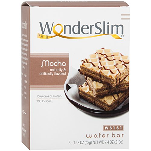 WonderSlim Weight Loss Meal Replacement Wafer Bar - High Protein, Trans Fat Free, Aspartame Free, Cholesterol Free - Mocha, 1 Box (5 ()