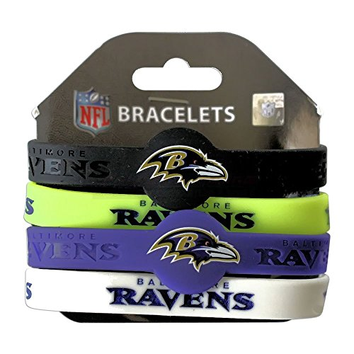 aminco NFL Baltimore Ravens Silicone Bracelets, (Baltimore Ravens Band)