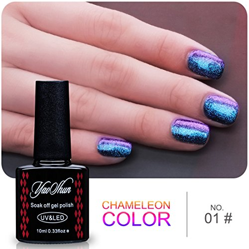 Yaoshun Gel Nails Polish,Holographic Glitter Starry Galaxy C