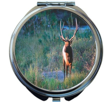 Rikki Knight Bull Elk Design Round Compact Mirror by Rikki Knight