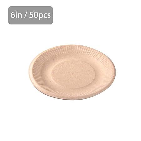 Platos desechables biodegradables de 6/7/9 pulgadas, 50 unidades ...