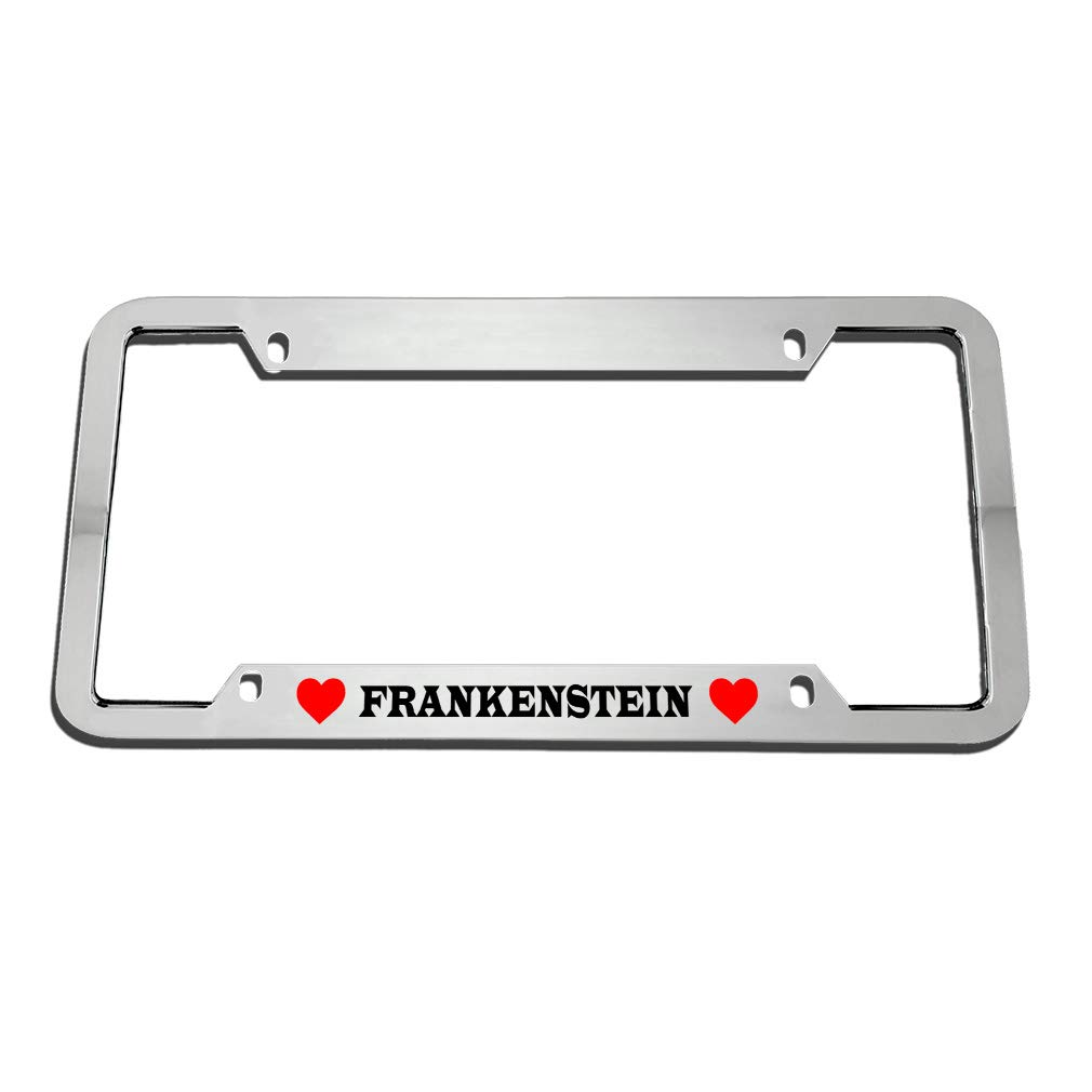 Frankenstein W// Hearts Chrome Metal License Plate Frame