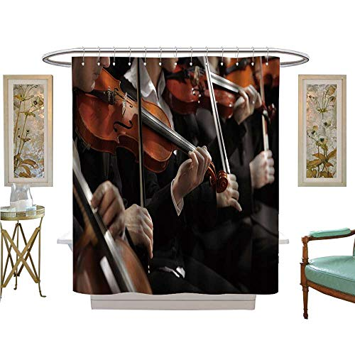 luvoluxhome Shower Curtains with Shower Hooks Symphony Music Violinist at Concert Bathroom Decor Sets with Hooks W54 x L78
