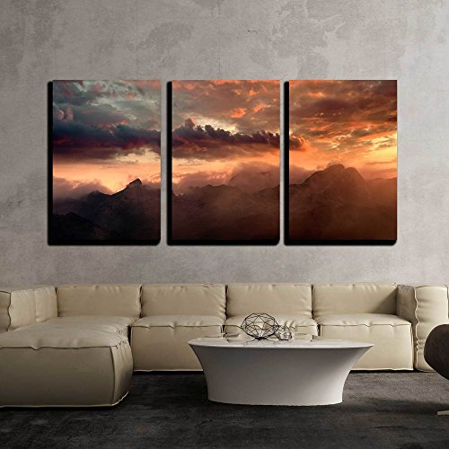 Fiery Sunset over the Mountain Peaks with Dramatic Cloud Formation x3 Panels