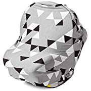 Nursing Cover, Car Seat Canopy, Shopping Cart, High Chair, Stroller and Carseat Covers for Boys and Girls- Best Stretchy Infinity Scarf and Shawl- Multi Use Breastfeeding Cover Up- Geometric Pattern