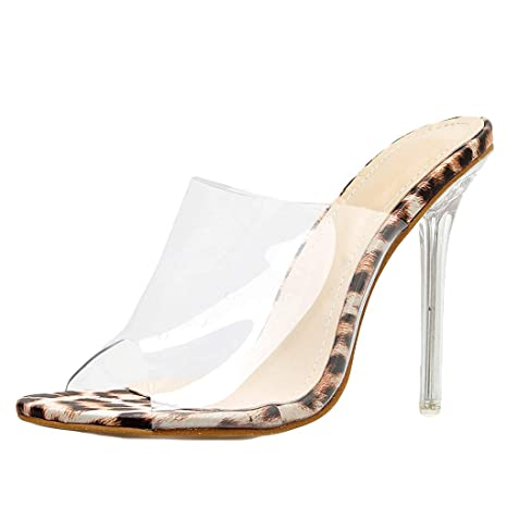 44f6a5028760 Dreamyth-Shoes Women Transparent Sandals Fine Heel Sexy Peep High Heels  Sandals (Beige,