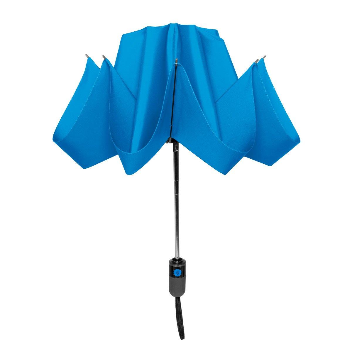 ShedRain UnbelievaBrella Compact Reverse Umbrella: Ocean Blue