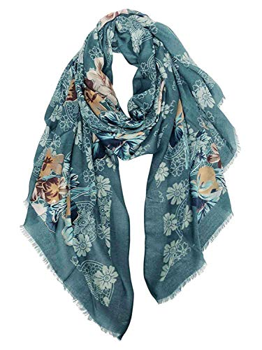 Floral Print Silk Skirt - GERINLY Scarf Wrap Fashion Cozy Scarves Womens Floral Evening Shawls (Dark Teal)