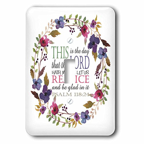 3dRose TNMGraphics Scripture - Psalm 118 Floral Wreath This is the Day the Lord Has Made - Light Switch Covers - single toggle switch (lsp_286314_1) by 3dRose