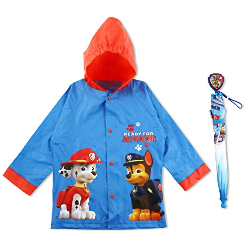 Nickelodeon Little Boys Paw Patrol Raincoat and Umbrella, Blue, 6-7