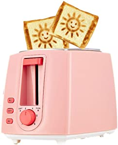 2 Slice Toaster with smile face Toaster oven toaster home automatic sandwich maker multi-function breakfast machine toaster (green) (pink)
