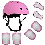 Lucky-M Kids Outdoor Sports Protective Gear ,Boys and Girls Safety Pads Set [Helmet ,Knee&Elbow Pads and Wrist Guards] for Roller, Scooter, Skateboard, Bicycle(4-8 Years Old)(Pink)