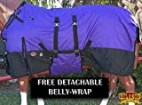 HILASON 1200D Winter Waterproof Poly Horse Blanket Belly Wrap Purple