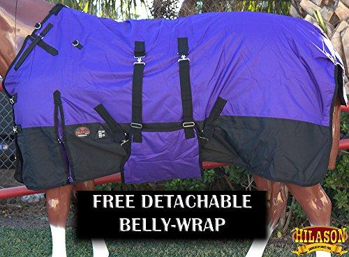HILASON 74″ 1200D Winter Waterproof Poly Horse Blanket Belly Wrap Purple