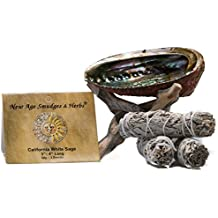 """Smudging Kit - 3 California White Sage Smudging Wands (Salvia Apiana) with Beautiful Natural 5""""-6"""" Abalone Shell, Kit Includes Natural Wooden Cobra Tripod Stand - Sage Sticks are 4"""" in length"""