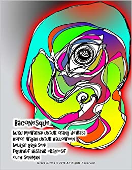 Amazoncom Baconesque Buku Mewarnai Untuk Orang Dewasa Horor Wajah