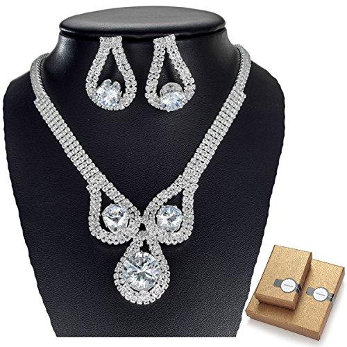 TENGZHEN Silver Alloy Rhinestone Earrings Crystal Pendant Necklace Bridal Jewelry Set ¡ (Necklaces Earring Filled Crystal Rhinestone)