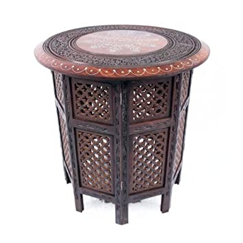 Moroccan Bazaar Beautiful Round Brown Hand Carved Indian Shesham Wooden Coffee  Table Side: 21u0026quot;