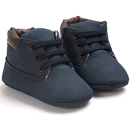 Voberry Toddler Baby Boy's Leather Sneaker Shoes Lace up Snow Boots Warm (6~12Month, Dark Blue)