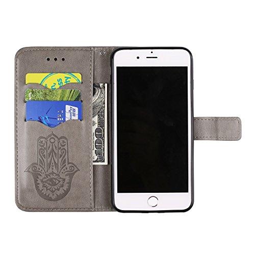 SRY-Caso sencillo Cubierta de cuero de la caja de la PU con la bolsa de la carpeta y acollador y Kickstand para el iPhone 7 más Protección reforzada ( Color : Green ) Black