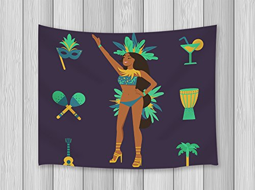 Brazilian Samba Carnival Costumes (Cartoon Decor Tapestry By JAWO Brazilian Woman for Costume Ball Samba Celebration Carnival PartyWall Art Hanging for Bedroom Living Room Dorm 71X60Inches Wall Blankets)