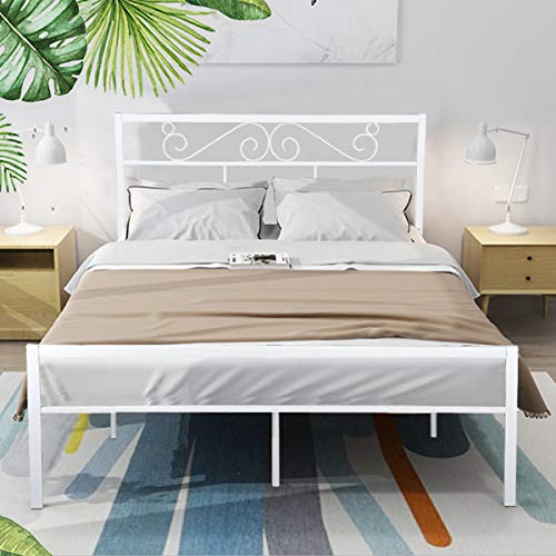 (GreenForest Queen Bed Frame with Wooden Slats Support Metal Platform with Headboard No Box Spring Needed, White (82.87'' x 62.99'' x 35.63'' (LxWxH))