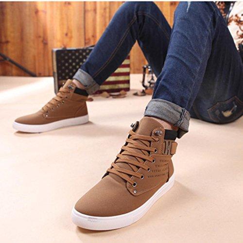 OverDose Herren Lace-up Sneaker Winter Herbst Stiefel Casual Freizeit Schuhe Biker Boots Turnschuhe Casual High Top Schuhe Sportschuhe A-Kahki