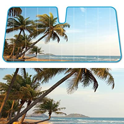 "Royal Palm Beach Fashion Auto Sun Shades Indian Summer Dual Bubble Fan Folded Premium Standard Size 58""x 27"""