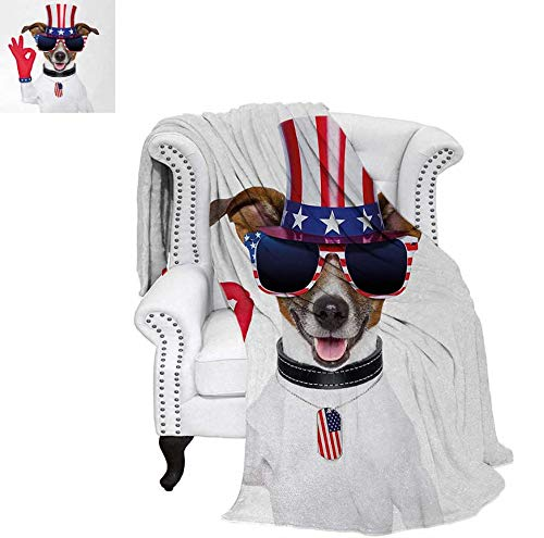 Nicely 4th of July Outdoor Blanket Jack Russell with an Uncle Sam Hat Gloves and Giant Sunglasses Celebrating Baby Blanket 60 x 36 inchMulticolor