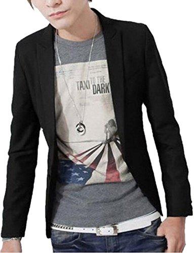 XTX+Men%27s+One-Button+Solid+Color+Trim+Fit+Blazer+Suits+M+black