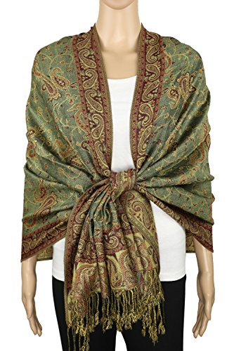 Achillea Soft Silky Reversible Paisley Pashmina Shawl Wrap Scarf w/Fringes 80'' x 28'' (Sage Green) by Achillea (Image #2)