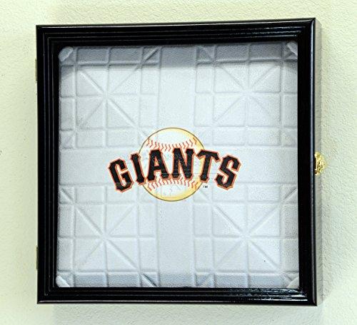 Baseball Base Display Case - Full Size Baseball Base Plate Display Case Cabinet Shadowbox Holder 98% UV (Black Finish)