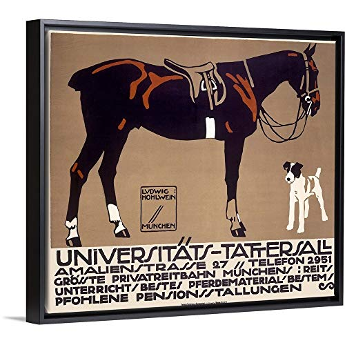 CANVAS ON DEMAND Horse and Fox Terrier, Universitats Tattersall, Vintage Poster, by Ludwig Hohlwein Black Floati. ()