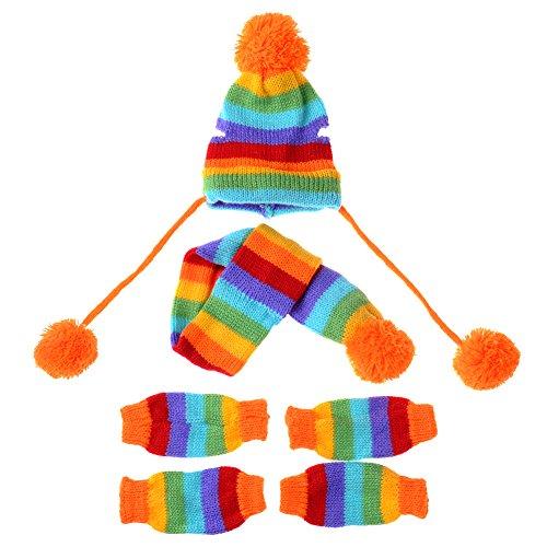 - JJ Store Puppy Pet Dog Cat Winter Striped Hat Knitted Cap Socks Scarf Leg Warmers Rainbow Pink