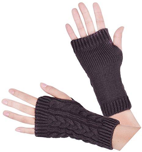 Crochet Wrist Warmers Warm Fingerless Gloves Thumb Hole Mittens Women