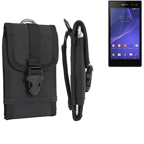 bolsa del cinturón / funda para Sony Xperia C3, negro | caja del teléfono cubierta protectora bolso - K-S-Trade (TM)