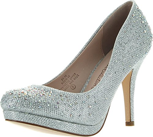 Jjf Shoes Robin46 Silver Strass Sparkle Glitter Evening Evening Pumps-7