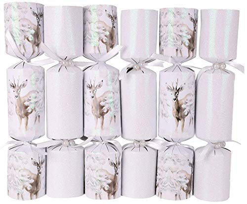 Toyland Pack of 6 Luxury Deluxe White Glitter Ice Deer Christmas Party Favors