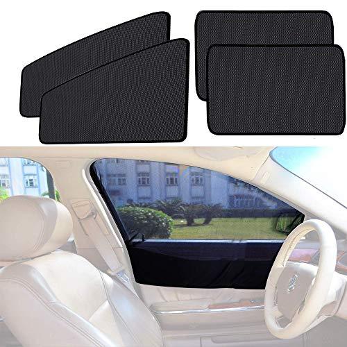 4Pcs/Set Car Sun Shade, Front Rear Windows Shade Mesh Magnetic Sunshade Telescopic Protect, Universal for All Cars SUV Truck (Car Window Shade Set)
